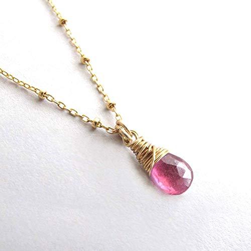 - Pink Sapphire Dainty Genuine Gemstone Necklace, September Birthstone 14k Gold Filled 18 inch length