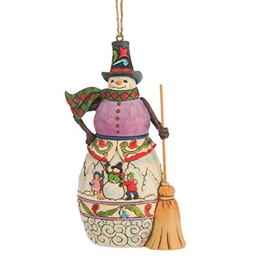 "Jim Shore Heartwood Creek Winter Scene Snowman Stone Resin Hanging Ornament, 4.625"" (Snowman Hanging Ornament)"