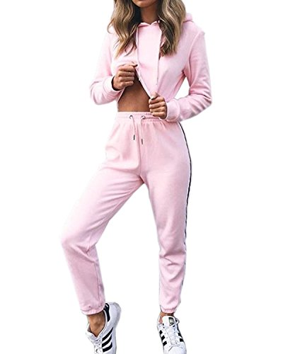 Sweatpants Set - Akery Womens Sports Suit Pullover Hoodie Sweat Pants Set Tracksuit