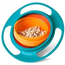 Bebé Alimentación Juguete Tazón Platos Kids Boy/Girl Derrame Prueba universal Rotar Tecnología Funny Baby accesorios de regalo, Azul