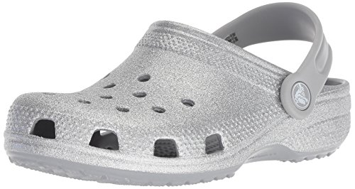 Crocs Kids Baby Girl's Classic Glitter Clog (Toddler/Little Kid) Silver 4 M US Big Kid