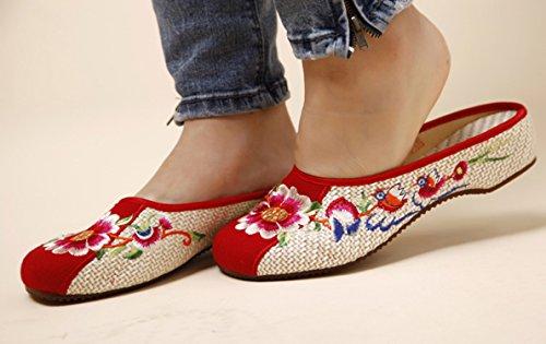 y Bordado Zapatos Floral Encendido Icegrey Zuecos Planos Mujeres Zd0qwxqS