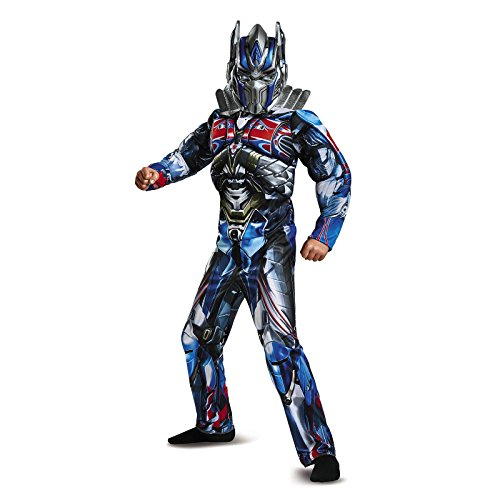 [Disguise Optimus Prime Movie Classic Muscle Costume, Blue, Medium (7-8)] (Movie Characters Costumes)