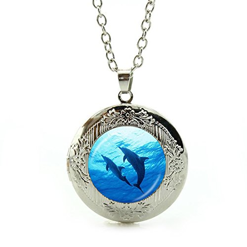 (Women's Custom Locket Closure Pendant Necklace Dolphins Choker Silver Plated Included Free Silver Chain, Best Gift Set)