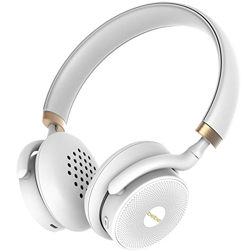 bebe Boom Wireless Designer Headphones for Women – Cordless On Ear Bluetooth Headphones with Mic and 18 Hour Playtime – Lightweight Over Ear Headphones White and Gold – for iPhone Android Smartphone