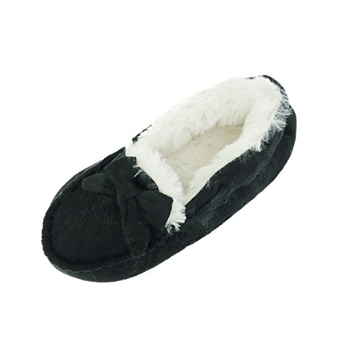 Chatties Girls Moccasin Slippers with Faux Fur Lining, Black, Small