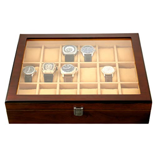 Watch Box Wooden 18 Slots Jewelry Display Storage Case with Glass Top and Removal Storage Pillows Gift Box for Men Women Birthday Valentine's Day Father's Day
