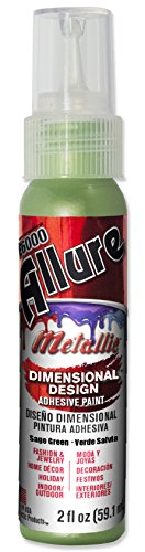 E6000 57080246 746C Allure Metallic Dimensional Adhesive Paint, Sage Green, 2 fl. oz.