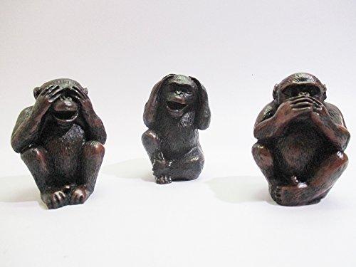 3 Monkeys Resin No Evil (Hear Speak See) Sitting Close Mouth Eye And Eyes (Big size) ()