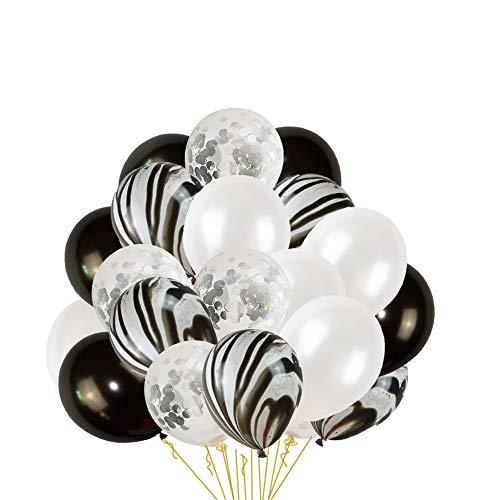 24Pcs Silver Confetti and Agate Marble Ballons,Black and White Latex Ballons for Baby Shower Birthday Wedding Graduation Retirement Party Decorations