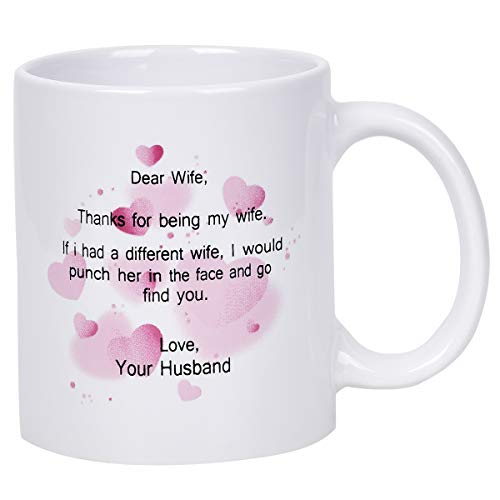 (Coffee MugThanks for Being My Wife Coffee Tea Cup Funny Words Novelty Gift White Ceramic Mug for Christmas Wife Valentine's Day Festival Friends Gift Present)