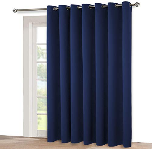 BGment Privacy Blackout Curtains for Sliding Glass Door, Grommet Thermal Insulated Darkening Room Divider Curtain for Living Room, 1 Panel (8.3ft Wide x 7ft Tall, Navy) (Glass Doors Curtains Large For Sliding)