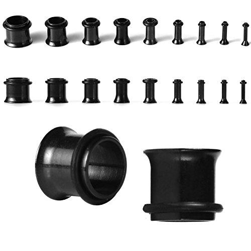 BodyJ4You 14G-00G Plugs Kit Black Plugs Stretching Kit (1.6mm-10mm) - 18 Pieces (Plug Gauges 8 5)