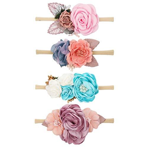 Baby Girl Floral Nylon Headband Elastic Hair Band Bows Flower Wraps For Newborn Infant Toddler Pack of 4