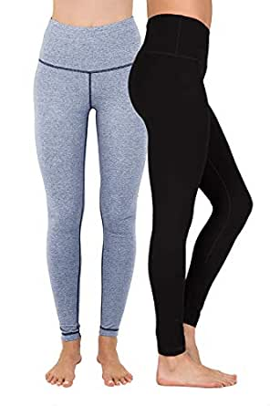 90 Degree By Reflex High Waist Cotton Power Flex Leggings - Tummy Control - Black and Heather Stone Navy 2 Pack - XS