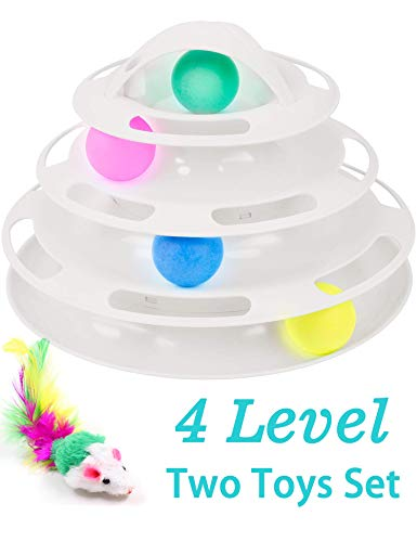 Petove New Upgraded Tower of Tracks 4 Level Cat Tracks Interactive Ball Toy and Feather Fluffy Mouse Toy Set for Cat, Kitten (White)