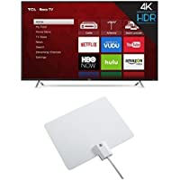 TCL 55S405 55-Inch 4K Ultra HD Roku Smart LED TV (2017 Model) with Winegard FlatWave Micro FL-2000 Digital HD TV Indoor Antenna