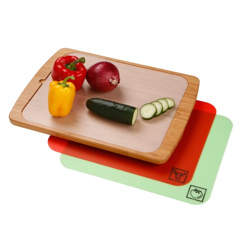 Seville Classics Bamboo Cutting Board with Removable Cutting (Classic Bamboo Cutting Board)