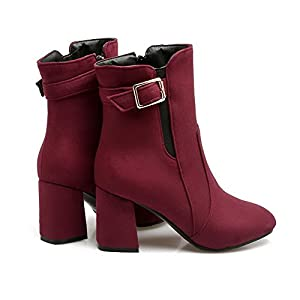 AN AandN Womens Boots Closed-Toe Zip Kitten-Heels Warm Lining Rubber Not_Water_Resistant Not_Water_Resistant Not_Water_Resistant Claret Urethane Boots DKU01967-5 B(M) US
