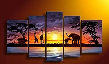 Captivating Sangu 100% Hand Painted Wood Framed Sunset Elephants African Home Decoration  Modern Oil Paintings Gift