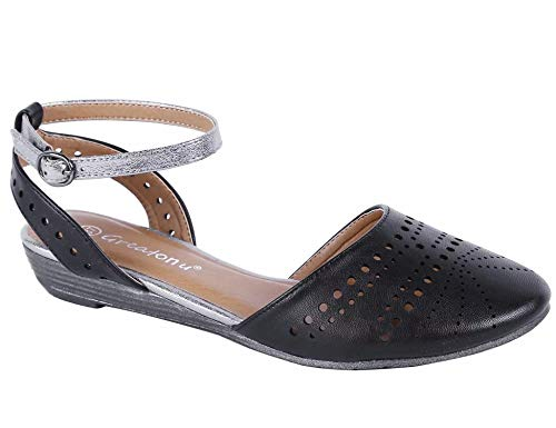 MaxMuxun Womens Shoes Cut Out Cage Closed Toe Flat Sandals (10 US, -
