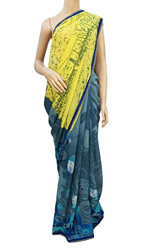 Bollywood Saree Blue Georgette Sari With Blouse Saree Traditional Women Clothing