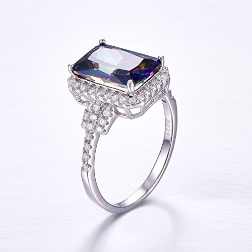Merthus 925 Sterling Silver Created Mystic Rainbow Topaz Halo Engagement Ring for Women by Merthus (Image #2)