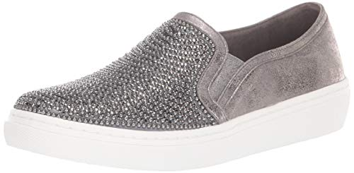 Skechers Women's Goldie-Diamond Wishes. Rhinestone and Pearl Embellished Slip on Sneaker, Pewter, 10 M US