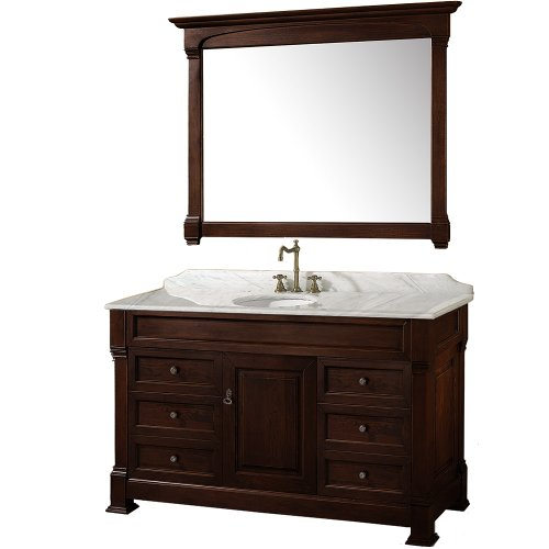 ndover 55 inch Single Bathroom Vanity in Dark Cherry with White Carrera Marble Top with White Undermount Sink ()