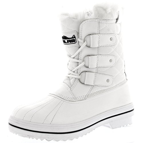 Polar Products Womens Snow Boot Nylon Short Fur Rain Winter Waterproof Snow Warm Boots - White - 8-39 - CD0031