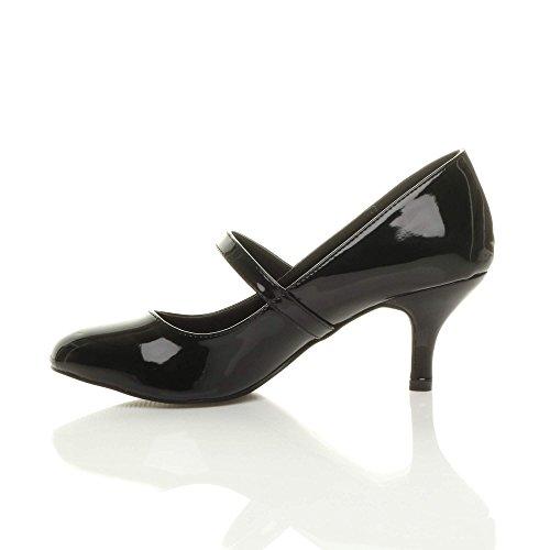 elegante moda mary jane scarpe festa Donna di media Nero taglia Vernice tacco lavoro ZEwxYzq