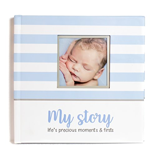 (First Year Baby Memory Book & Baby Journal (3 Color Styles Available). Perfect for Boys or Girls Baby Shower Gift. First 5 Years Scrapbook, Keepsake & Photo Journal. Unisex, Blue)