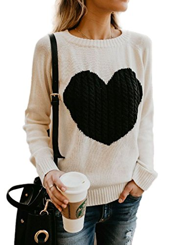 Mygoodie Womens Casual Cable Knitted Crewneck Heart Love Oversized Pullover Sweater (Beige, ()