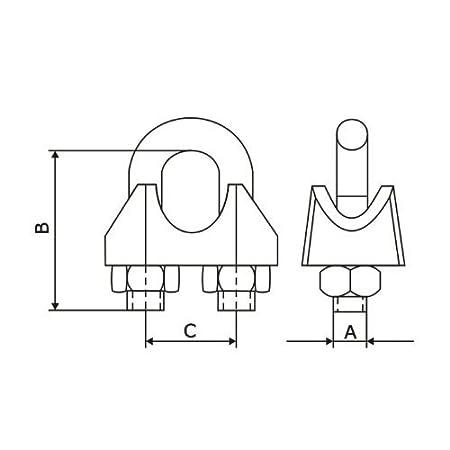 50 pcs acier galvanis/élire serre-c/âbles /étrier DIN 741 5mm zingue