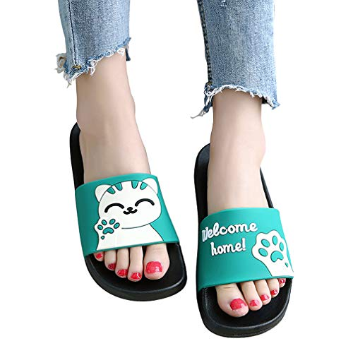 Cute Colorful Animal Cat Soft Slides for Women - Classics Anti-Slip Casual Sweet Color Flat Girl Slippers Sandals for Summer Slip-On Comfortable Shoes with Animal Print Green