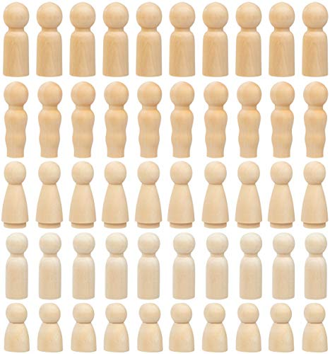 (Peg Dolls - 50-Pack Unfinished Wooden Peg Dolls, Peg People, Doll Bodies, Wooden Figures, for Painting, Craft Art Projects, Peg Game, Decoration, Men Women Girls Boys Babies, 5 Assorted Shapes)