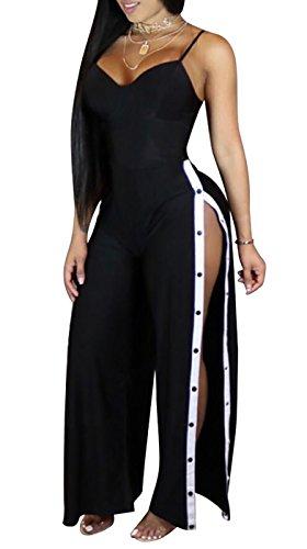 Farktop Women Spaghetti Strap Bodycon One Piece Jumpsuits Rompers Side Button Elegant High Split Pants