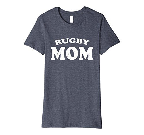 Womens Rugby Mom High School Team Sport Mother T Shirt Cute Gift Medium Heather Blue (Shirt Rugby School)