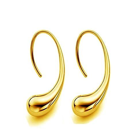 YIWULA Elegant Fashion 925 Sterling Silver Women Ear Stud Earrings (Gold)