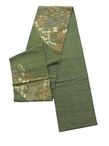 悪意野な役員リサイクル 袋帯 紬 刺繍 金彩 遠山に花鳥文 正絹