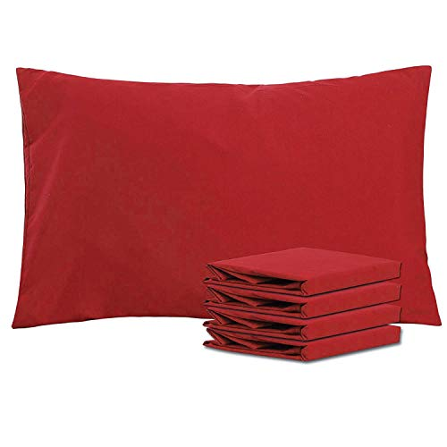 (NTBAY Queen Pillowcases Set of 4, 100% Brushed Microfiber, Soft and Cozy, Wrinkle, Fade, Stain Resistant, with Envelope Closure, Wine Red)
