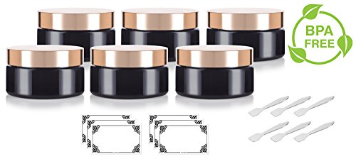 Scrub Gold Top (Black PET Plastic (BPA Free) Refillable Low Profile Jar with Gold Metal Overshell Lid- 8 oz (6 Pack) + Spatulas and Labels)