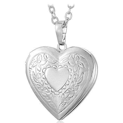 U7 Platinum Plated Charm Necklaces Heart Pendant Photo Locket Necklace for Women -