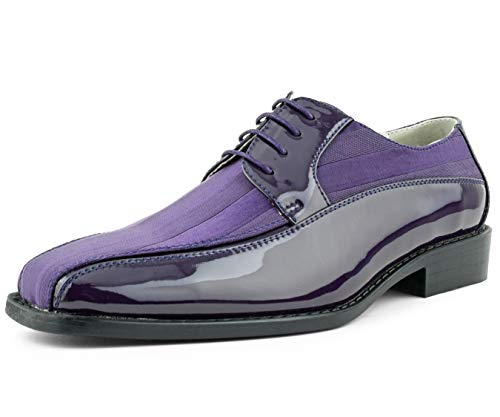 Amali Men's Lace Up Tuxedo Oxford with Statin Striped Design Oxford Dress Shoe, Style Avant - Shoes Designer Purple