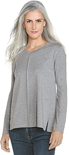 Coolibar UPF 50+ Women's V-Neck Tunic Top - Sun Protective (Small- Grey Heather) Resistant Clothes