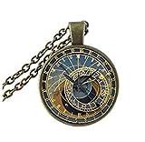 Tiny Astronomical Steampunk Pendant, Brass Pendant, Glass Pendant, Prague Clock Pendant, Brass Necklace, Glass Necklace, Steampunk Necklace