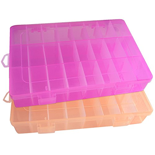 QUALSEN Transparent Plastic Jewelry Box Organizer Storage Container with Adjustable Dividers For Sorting Earrings, Rings, Beads and Other Mini Goods 24 Grid 2PCS (Orange+Pink)