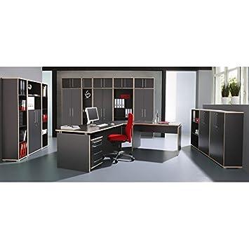 Komplett Büromöbel Set in anthrazit ○ Schreibtisch mit Wangen ...