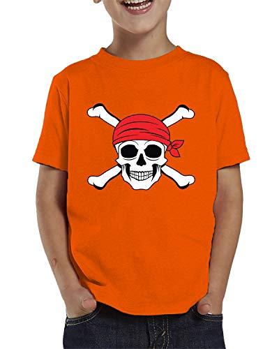 SpiritForged Apparel Jolly Roger Pirate Skull Toddler T-Shirt, Orange 5T/6T