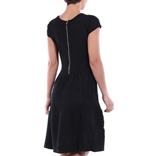 La Modeuse patineuse-vestido de malla gruesa texturizada negro